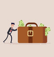 happy businessman or manager pushes a huge vector image