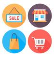 Shopping flat circle icons set vector image