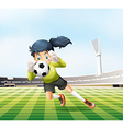A female player catching the soccer ball vector image vector image