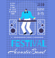acoustic band music festival poster flat template vector image vector image