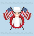 american chef cartoon vector image