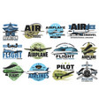 aviation show and flight tours icons set vector image vector image