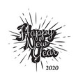 black vintage happy new year 2020 background vector image vector image