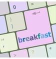 breakfast word on keyboard key vector image vector image