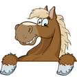 brown horse over a sign vector image vector image