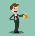 businessman hand buying a house realtors hand vector image