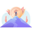 businessman standing on top mountain vector image vector image