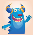 cartoon portrait of smiling blue monster dragon vector image