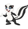 cartoon skunk presenting on white background vector image vector image