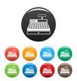 cash machine icons set color vector image
