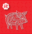 chinese new year pig 2019 red greeting card vector image