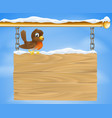 christmas robin on wooden sign vector image vector image