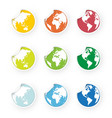 colored world globe icons stickers set vector image vector image