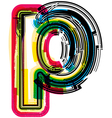 Colorful Grunge font LETTER p vector image vector image