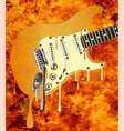 flames melting guitar vector image vector image