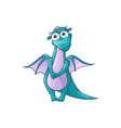 flat cartoon female dragon with horns wings vector image