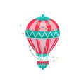 flying hot air balloon decorated with colorful vector image vector image