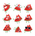 funny watermelon - isolated cartoon vector image vector image