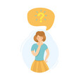 girl thinking about question vector image
