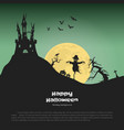 halloween banner with fantasy silhouettes vector image