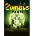 Halloween Zombie Party on green disco ball moon vector image vector image