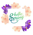 hello spring poster with flowers vector image