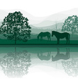 Horses by a Meadow and Lake vector image vector image