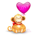 icon - cute toy monkey holding a balloon vector image vector image