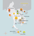 indochina map with national capital landmarks vector image vector image