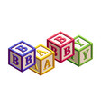 isometric kids blocks with letters and a word baby