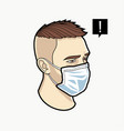 man face in respiratory mask vector image vector image