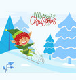 merry christmas xmas elf riding sleigh in forest vector image vector image