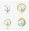 Minimal line design logo business icon block vector image
