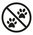 no animals allowed silhouette sign vector image