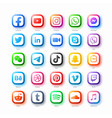 popular social media network web icons set in vector image vector image