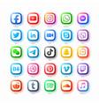 popular social media network web icons set vector image vector image