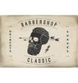 poster barbershop label on a beige paper vector image