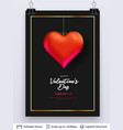 red heart and luxurious golden frame on black vector image