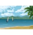 Sea Landscape with Palms Mountains and Surfers vector image