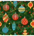seamless pattern of christmas tree branches vector image
