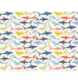 Seamless pattern of hand-drawn sharks silhouettes vector image