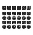 set of 24 icons of dice in all possible turns vector image vector image