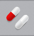 set of red and white realistic pills vector image vector image
