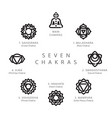 seven chakras line icons set vector image