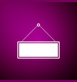 signboard icon on purple background hanging sign vector image vector image