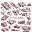 sketch chocolate engraving black chocolate bars vector image