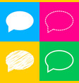 speech bubble icon four styles of icon on four vector image