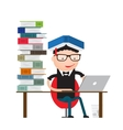 student sitting at the library vector image