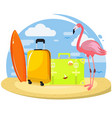 summer set famingo suitcases surfboard vector image vector image