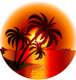Sunset on a tropical island vector image vector image